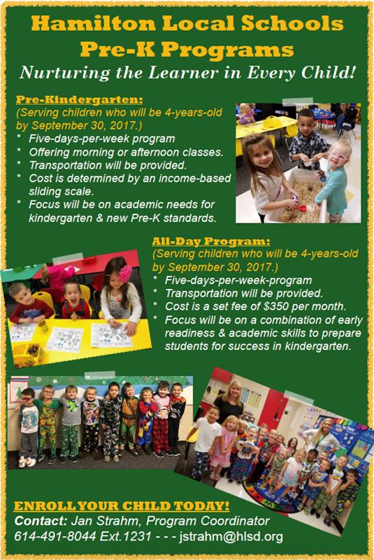 Hamilton Pre-Kindergarten Promo Poster 2017-2018