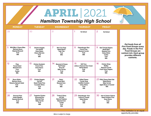 April 2021 HTHS Lunch Schedule