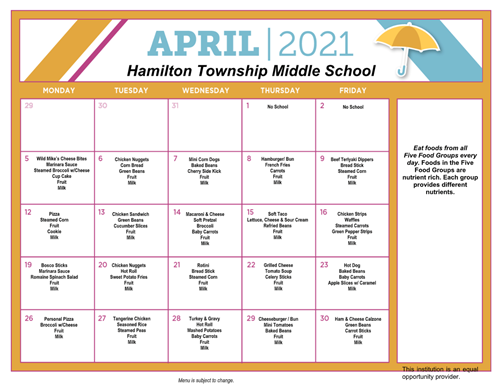 April 2021 HMS Lunch Schedule