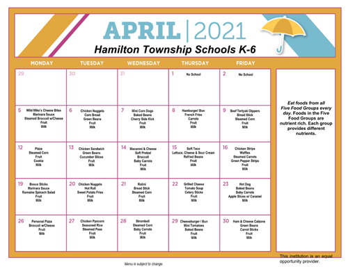 April 2021 K-6 Lunch Schedule