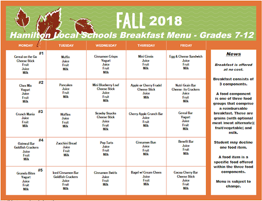 Click the image for PDF of Fall 2018 Breakfast Menu - Grades 7-12