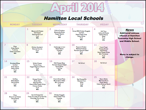 April 2014 Lunch Menu