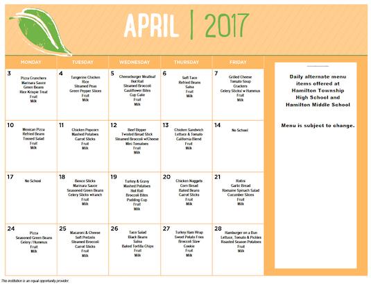 April 2017 District Lunch Menu
