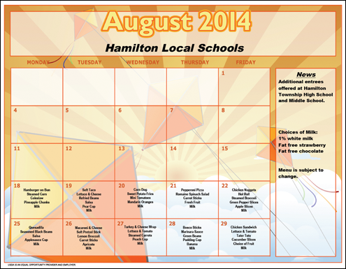 August 2014 Lunch Menu