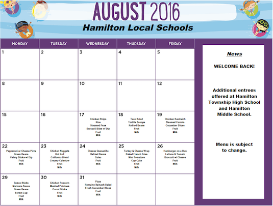 August 2016 District Lunch Menu