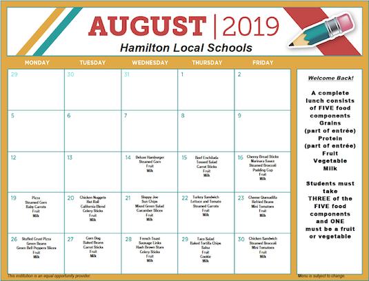 Hamilton County School Calendar.District Lunch Menus