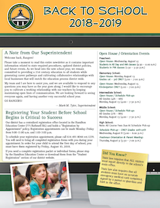 2018-2019 Back to School Newsletter - Click the image to open the file.