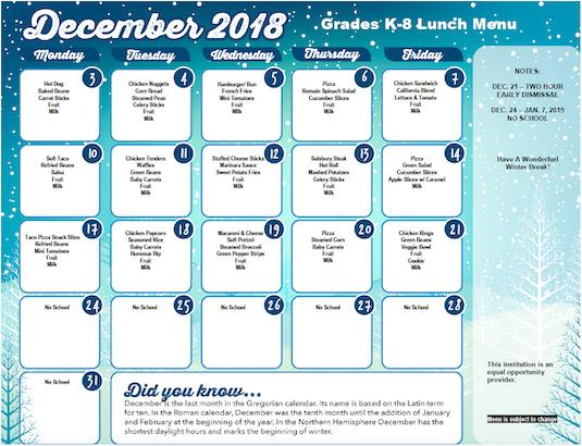 district lunch menus
