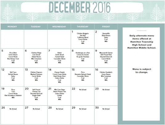December 2016 District Lunch Menu