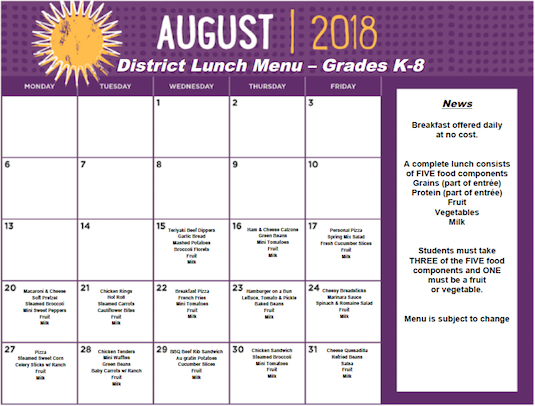 Click the image for PDF of August 2018 Lunch Menu - Grades K-8