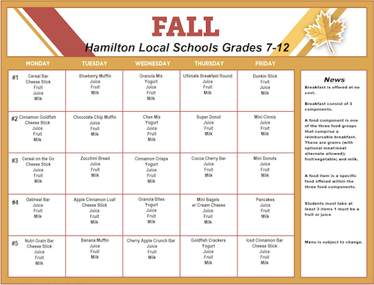 Fall 2019 Breakfast Menu - Grades 7-12 - Click the image to open the file.