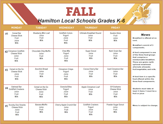 Fall 2019 Breakfast Menu - Grades K-6 - Click the image to open the file.