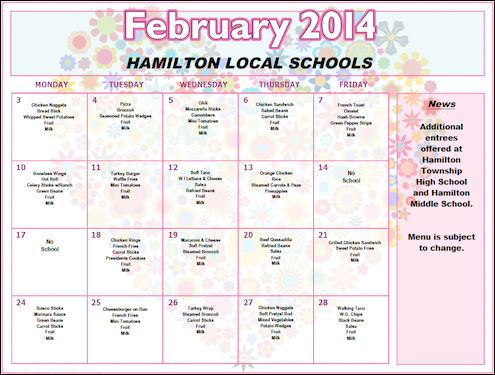 February 2014 Lunch Menu