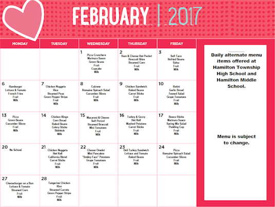 February 2017 District Lunch Menu