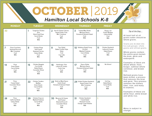 Click the image for PDF of October 2019 Lunch Menu - Grades K-8