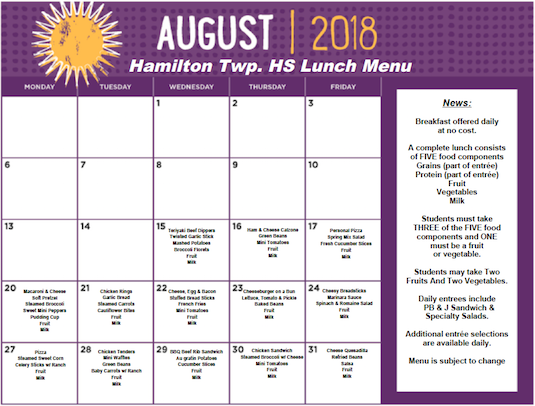 Click the image for PDF of August 2018 Hamilton Township High School Lunch Menu