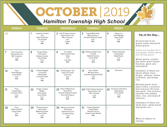 Click on this image to open a PDF version of the October 2019 Lunch Menu for Grades 9-12