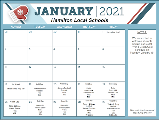January 2021 District Lunch Menu - Click image to download PDF menu