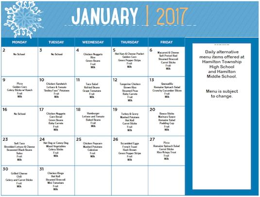 January 2017 District Lunch Menu