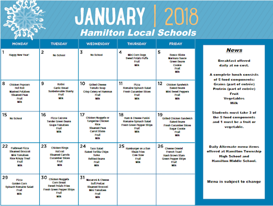 January 2018 District Lunch Menu - Click the menu image to download PDF version of menu