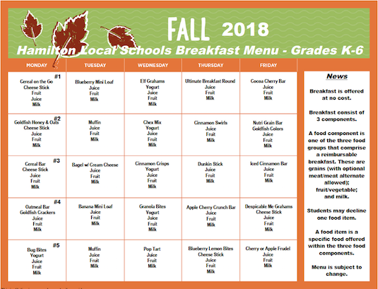 Click the image for PDF of Fall 2018 Breakfast Menu - Grades K-6