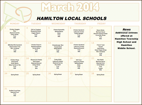March 2014 Lunch Menu