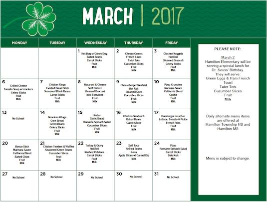 March 2017 District Lunch Menu