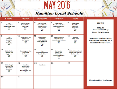 May 2016 District Lunch Menu