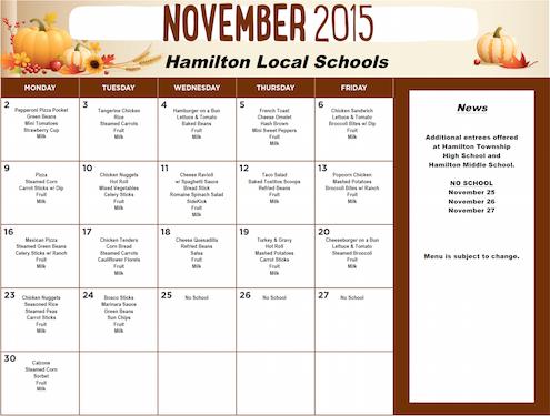 November 2015 District Lunch Menu