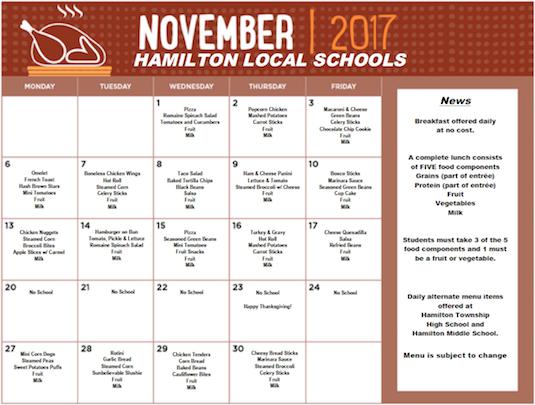 November 2017 District Lunch Menu
