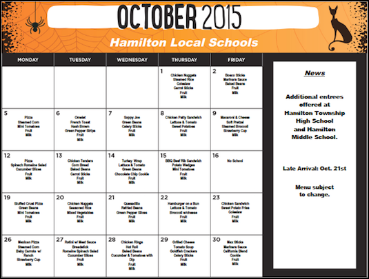 October 2015 District Lunch Menu
