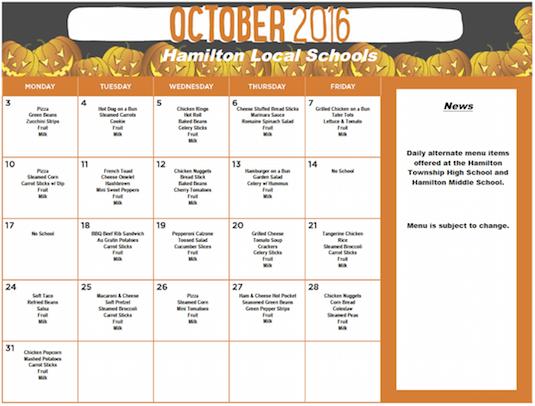 October 2016 District Lunch Menu