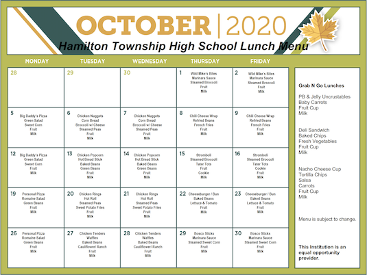 October 2020 District Lunch Menu - Grades 9-12 - Click the image to open the file