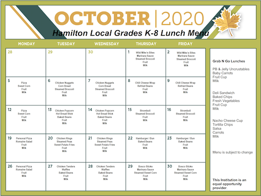 October 2020 District Lunch Menu - Grades K-8 - Click the image to open the file