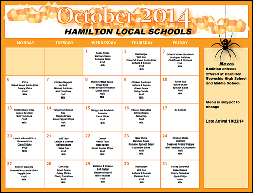 October 2014 Lunch Menu
