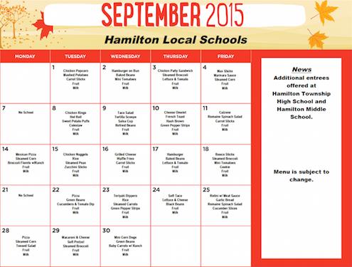 September 2015 District Lunch Menu
