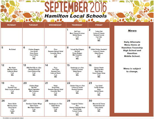 September 2016 Lunch Menu
