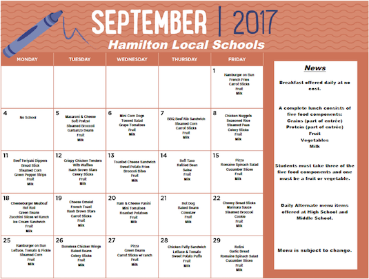 September 2017 District Lunch Menu