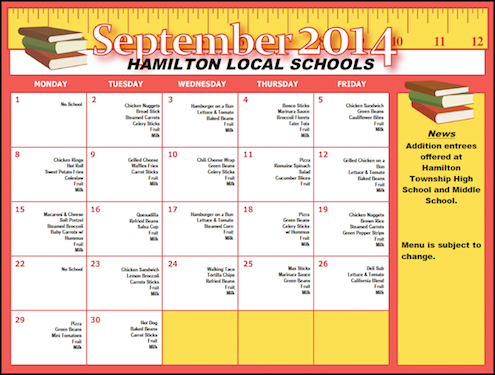 September 2014 Lunch Menu