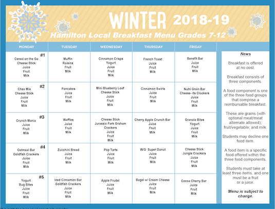 Winter 2019 Breakfast Menu - Grades 7-12 - Click image for PDF menu