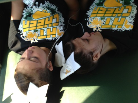 NCA Camp - Abby & Sierra after a long day of hard work!