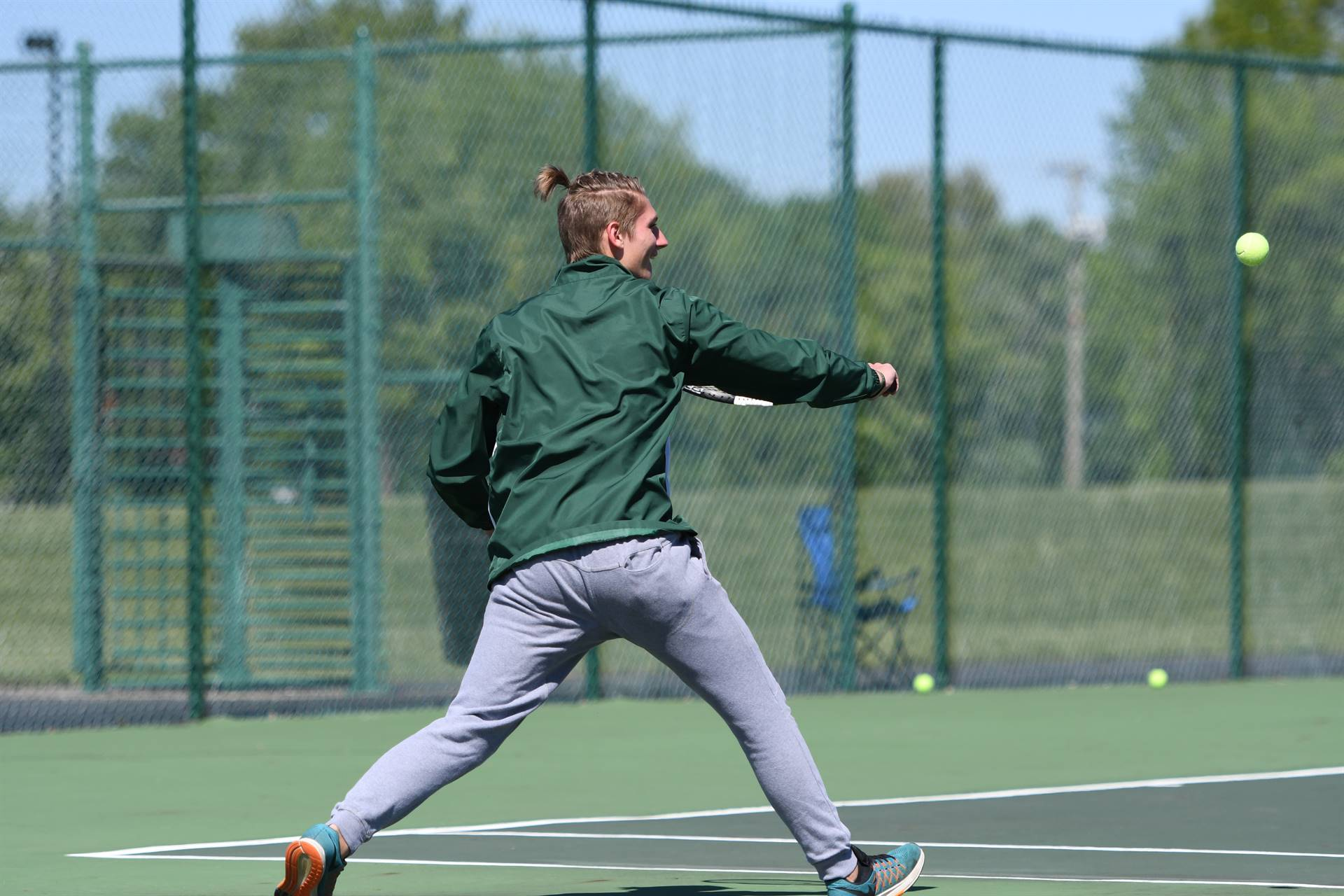 Alex hitting Backhand